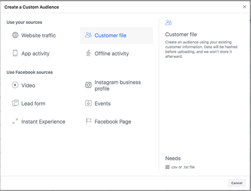 Custom Audience - Customer File